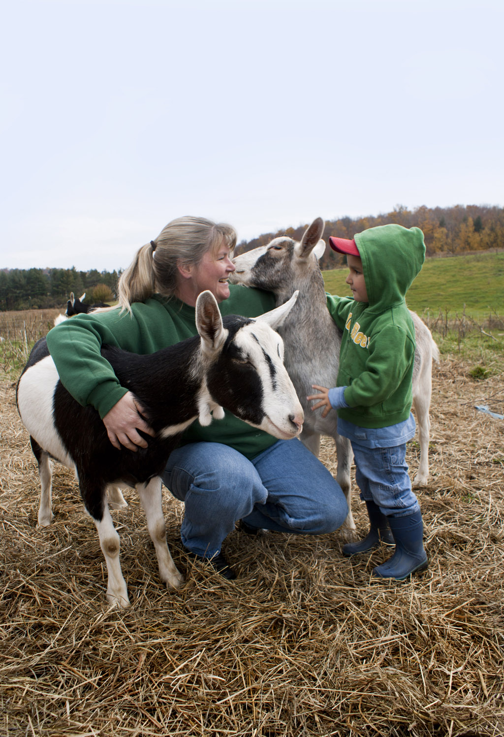 Cindy & Bo with Goats